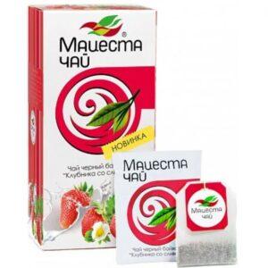 "Black long  leaf tea ""Strawberry with cream"" 20 tea bags, 40g"