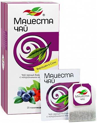 Black long leaf tea with natural berries 20 tea bags, 40g
