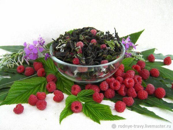 Ivan tea with raspberries, fermented leaf) with raspberry leaves and berries, 50 g